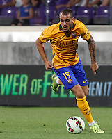 Calcio: amichevole Fiorentina vs Barcellona. Firenze, stadio Artemio Franchi, 2 agosto 2015.<br /> FC Barcelona's Sandro in action during the friendly match between Fiorentina and FC Barcelona at Florence's Artemio Franchi stadium, 2 August 2015.<br /> UPDATE IMAGES PRESS/Riccardo De Luca