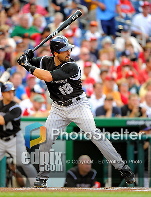 9 July 2011: Colorado Rockies outfielder Ryan Spilborghs in action against the Washington Nationals at Nationals Park in Washington, District of Columbia. The Rockies edged out the Nationals 2-1 to win the second game of their 3-game series. Mandatory Credit: Ed Wolfstein Photo
