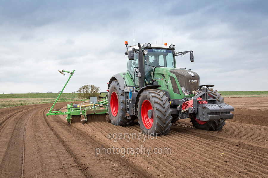AVR G Force 6m rotatry cultivator, cultivating potato headlands and incorporating Nemathorin - Lincolnshire; April