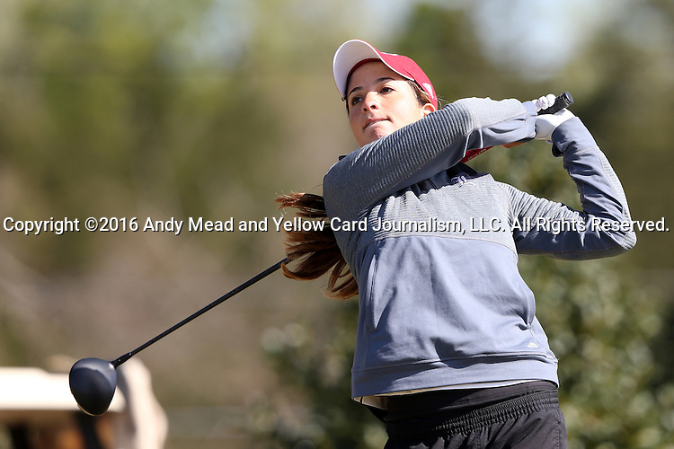 15 April 2016: Louisville's Laura Restrepo. The First Round of the Atlantic Coast Conference's Womens Golf Tournament was held at Sedgefield Country Club in Greensboro, North Carolina.