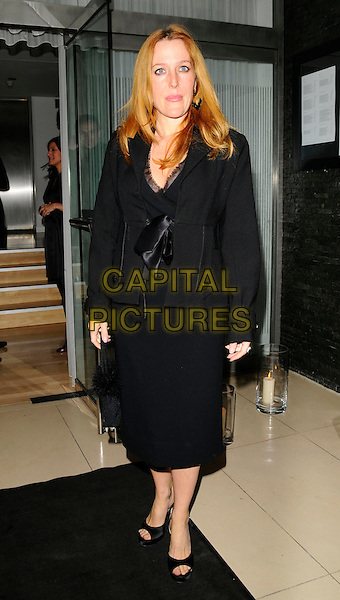 """GILLIAN ANDERSON.Attending """"The Return of The Salon"""" Party at the Sanderson Hotel, London, England, UK, May 28th 2008..full length  black jacket  bow tied dress peep toe shoes .CAP/CAN.©Can Nguyen/Capital Pictures"""