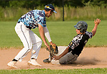 OXFORD, CT-062217JS22- Oakville's Cam Defoe (3) safely slides into second for a double after the ball popped out of the glove of Oxford's Matt Gramesty (2) during their American Legion Zone 5 game Thursday at Oxford High School. Jim Shannon Republican-American