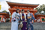 Chinese tourists visit the Fushimi Inari Shrine on January 16, 2016, in Kyoto, Japan. The Japan National Tourism Organization reported on Tuesday 19th a record increase in foreign visitors in 2015. Approximately 19.73 million people visited Japan from abroad, up 47.3 percent compared with 2014 and almost four times the 5.21 million that came in 2003. According to the report there were more Chinese visitors than from any other nation with 4.99 million coming in 2015. South Korea (4 million) and Taiwan (3.67 million) were next on the list, and over 1 million Americans also visited Japan in 2015. The number of visitors is the highest in 45 years and already close to Japan's goal of attracting 20 million foreign visitors in a year by 2020. (Photo by Rodrigo Reyes Marin/AFLO)