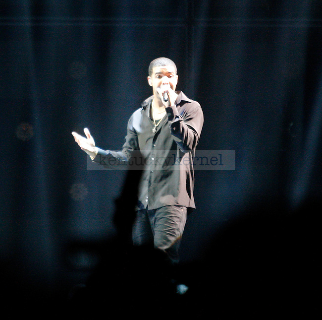 Hip-Hop artist Drake performs at Rupp arena Wednesday night, February 22, 2012. Photo by Scott Hannigan