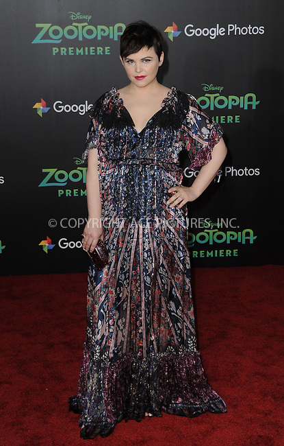 WWW.ACEPIXS.COM<br /> <br /> February 17 2016, LA<br /> <br /> Ginnifer Goodwin attending the premiere of Walt Disney Animation Studios' 'Zootopia' at the El Capitan Theatre on February 17, 2016 in Hollywood, California. <br /> <br /> <br /> By Line: Peter West/ACE Pictures<br /> <br /> <br /> ACE Pictures, Inc.<br /> tel: 646 769 0430<br /> Email: info@acepixs.com<br /> www.acepixs.com