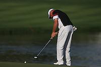 Thomas Bjorn (DEN) on the 18th green during Sunday's Final Round of the 2012 Omega Dubai Desert Classic at Emirates Golf Club Majlis Course, Dubai, United Arab Emirates, 12th February 2012(Photo Eoin Clarke/www.golffile.ie)