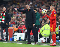 19th November 2019; Cardiff City Stadium, Cardiff, Glamorgan, Wales; European Championships 2020 Qualifiers, Wales versus Hungary; Ryan Giggs, Manager of Wales gives instructions during a stoppage in play - Editorial Use