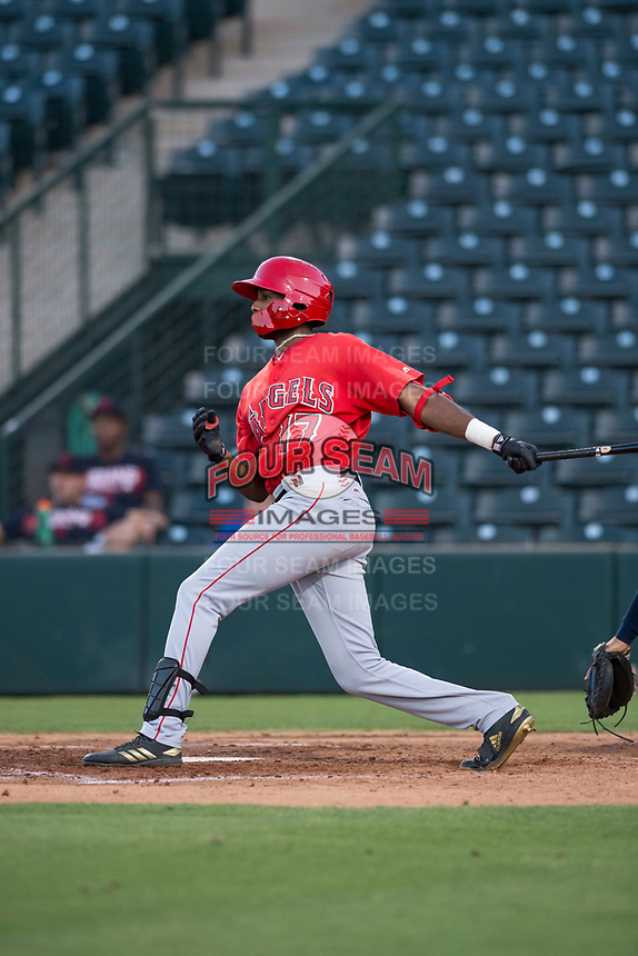 AZL Angels center fielder Trent Deveaux (17) follows through on his swing during an Arizona League game against the AZL Indians 2 at Tempe Diablo Stadium on June 30, 2018 in Tempe, Arizona. The AZL Indians 2 defeated the AZL Angels by a score of 13-8. (Zachary Lucy/Four Seam Images)
