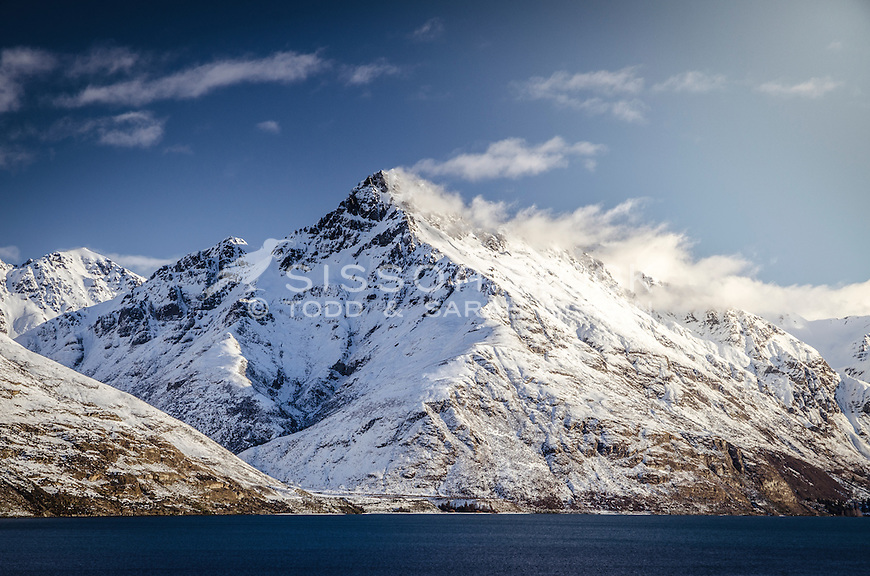 Snow covered Walter Peak, Winter, Queenstown, New Zealand - stock photo, canvas, fine art print