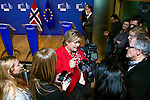 BRUSSELS - BELGIUM - 21 January 2015 -- Erna SOLBERG, Prime Minister of Norway talking to the press after her visit to the President of the European Commission. -- Photo: Juha ROININEN / EUP-IMAGES / Prime Ministers Office