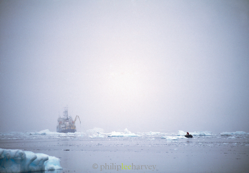 Research vessel with working scientists, Antarctic Peninsula, Antarctica