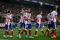 Atletico de Madrid´s Raul Garcia celebrates a goal with his mates during Champions League soccer match between Atletico de Madrid and Olympiacos at Vicente Calderon stadium in Madrid, Spain. November 26, 2014. (ALTERPHOTOS/Victor Blanco) /NortePhoto