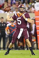 Blacksburg, VA - October 6, 2018: Virginia Tech Hokies quarterback Ryan Willis (5) throws a pass during the game between Notre Dame and VA Tech at  Lane Stadium in Blacksburg, VA.   (Photo by Elliott Brown/Media Images International)