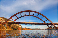 Austin, Texas is a great city for outdoors activities. At the 360 Bridge just west of town, the Colorado River flows underneath the steel suspension bridge. On the waters, boaters, fishermen, and even kayakers (like me!) enjoy the cool waters. Also known as Pennybacker Bridge, no part of this bridge touches the water, making for an unobstructed waterway to enjoy the sunny afternoons.
