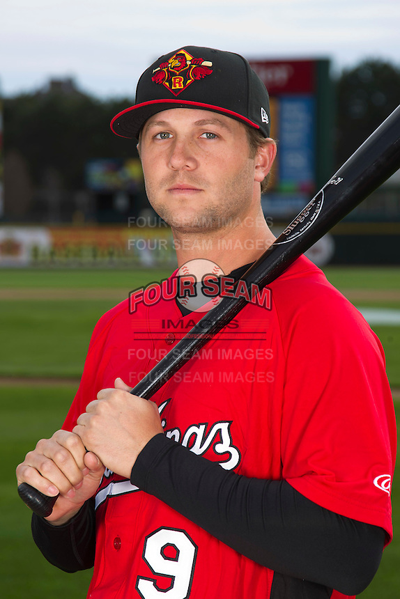 Rochester Red Wings outfielder Rene Tosoni #9 poses for a photo during media day at Frontier Field on April 3, 2012 in Rochester, New York.  (Mike Janes/Four Seam Images)
