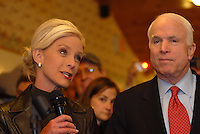Republican presidential hopeful, Sen. John McCain (R-AZ) and his wife Cindy speak to supporters at Young's Jersey Dairy in Yellowsprings, Ohio, Feb. 20, 2008.  (Ron Humphrey/PressPhotoIntl.com)