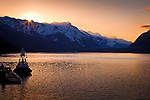 Sunset over Lynn Canal and Chilkat Mountains near Haines, Inside Passage, SE Alaska in early summer.