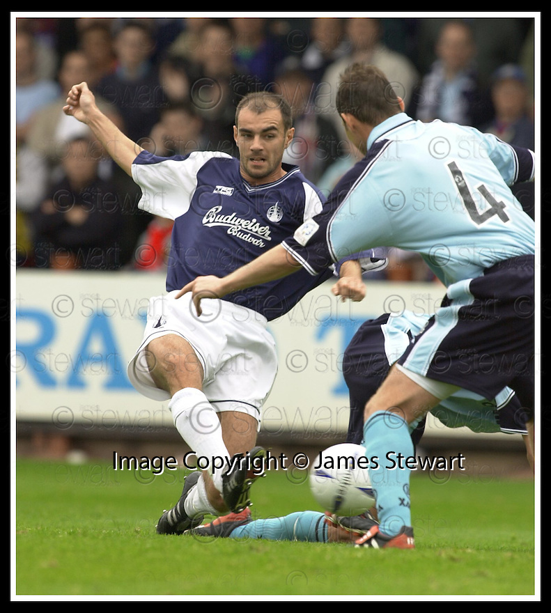 28/9/02       Copyright Pic : James Stewart                     .File Name : stewart-falkirk v st j'stone 17.JAMIE MCQUILKEN SHOOTS AT GOAL.....James Stewart Photo Agency, 19 Carronlea Drive, Falkirk. FK2 8DN      Vat Reg No. 607 6932 25.Office : +44 (0)1324 570906     .Mobile : + 44 (0)7721 416997.Fax     :  +44 (0)1324 570906.E-mail : jim@jspa.co.uk.If you require further information then contact Jim Stewart on any of the numbers above.........
