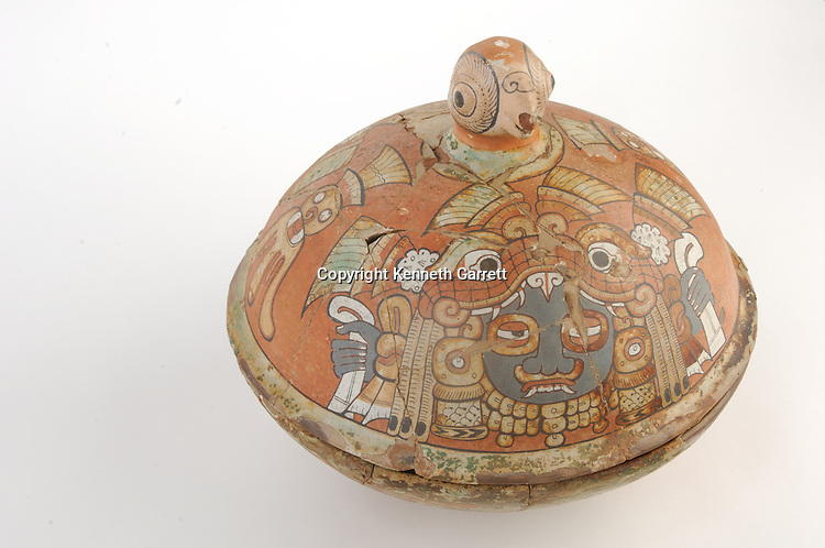 Maya Rise and Fall; Ancient Cultures; Maya; Mayan; Tikal,  Teotihuacan vessel;  tomb 48; Curl Nose; tomb