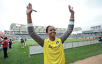 LA Sol's goalkeeper Karina LeBlanc waves to the fans after the WPS season opening game against the Washington Freedom at the Home Depot Center, Sunday, March 29, 2009. The LA Sol won 2-0.