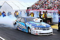 Aug 30, 2014; Clermont, IN, USA; NHRA pro stock driver Matt Hartford during qualifying for the US Nationals at Lucas Oil Raceway. Mandatory Credit: Mark J. Rebilas-USA TODAY Sports