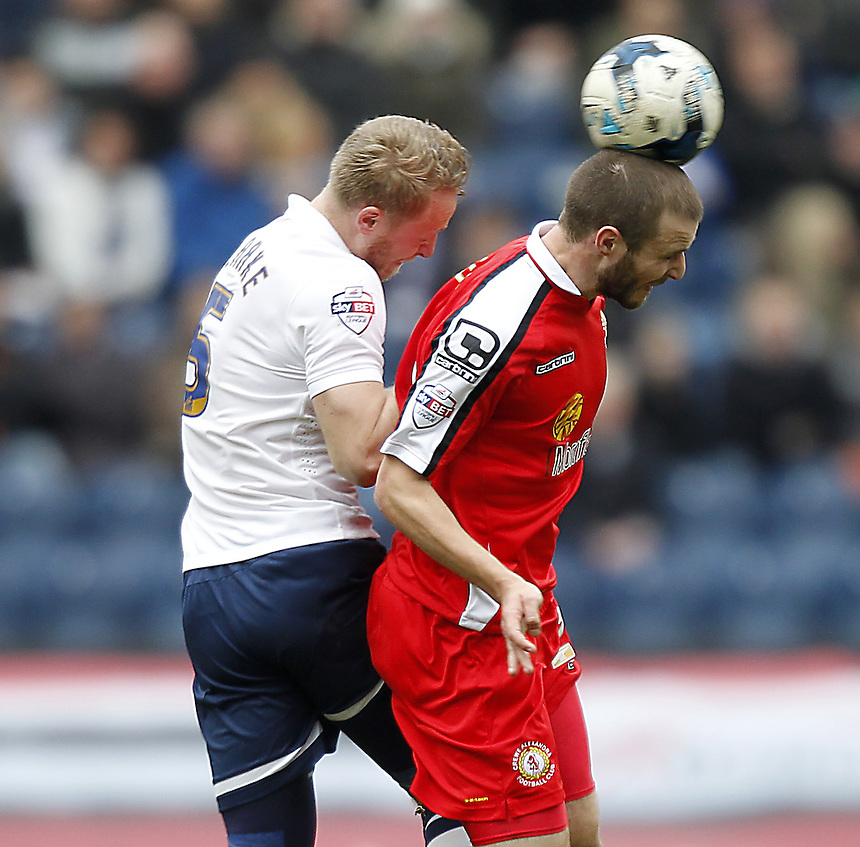 Preston North End's Tom Clarke battles with Crewe Alexandra's Marcus Haber<br /> <br /> Photographer Mick Walker/CameraSport<br /> <br /> Football - The Football League Sky Bet League One - Preston North End v Crewe Alexandra - Saturday 14th March 2015 - Deepdale - Preston<br /> <br /> &copy; CameraSport - 43 Linden Ave. Countesthorpe. Leicester. England. LE8 5PG - Tel: +44 (0) 116 277 4147 - admin@camerasport.com - www.camerasport.com