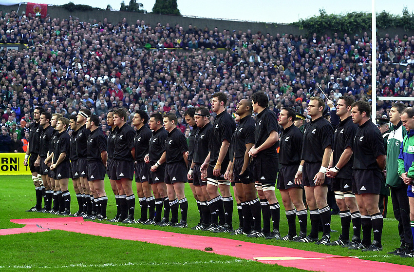 Photo. Richard Lane. .Ireland v New Zealand at Lansdowne Road, Dublin. 17-11-2001.The All Blacks line up for the Anthems.