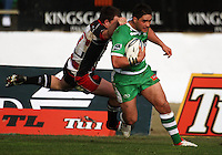 Manawatu second five Francis Bryant beats Mark Selwyn to score during the Air NZ Cup rugby match between Manawatu Turbos and Counties-Manukau Steelers at FMG Stadium, Palmerston North, New Zealand on Sunday, 2 August 2009. Photo: Dave Lintott / lintottphoto.co.nz