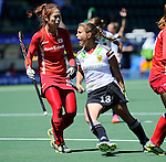 The Hague, Netherlands, June 13: Lisa Altenburg #18 of Germany reacts to a play during the field hockey placement match (Women - Place 7th/8th) between Korea and Germany on June 13, 2014 during the World Cup 2014 at Kyocera Stadium in The Hague, Netherlands. Final score 4-2 (2-0)  (Photo by Dirk Markgraf / www.265-images.com) *** Local caption ***