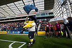 The home club's mascot leading the referee and teams out from the dressing rooms before Preston North End take on Reading in an EFL Championship match at Deepdale. The home team won the match 1-0, Jordan Hughill scoring the only goal after 22nd minutes, watched by a crowd of 11,174.