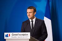 Le Pr&eacute;sident fran&ccedil;ais Emmanuel Macron fait une conf&eacute;rence de presse lors du Sommet Europ&eacute;en &agrave; Bruxelles.<br /> Belgique, Bruxelles, 22 juin 2017.<br /> French President Emmanuel Macron gives a press conference during the European Council in Brussels.<br /> Belgium, Brussels, 22 June, 2017.