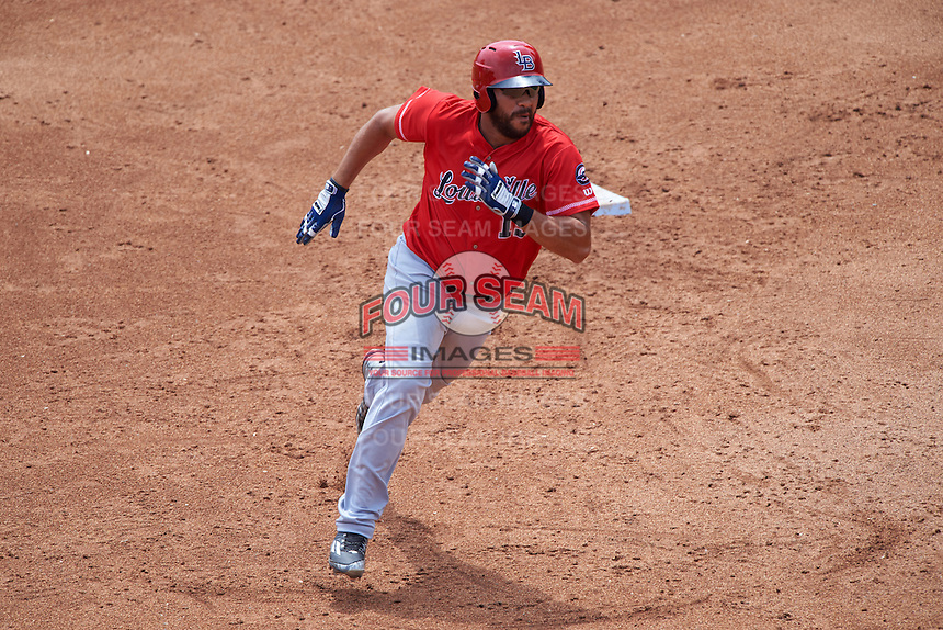 Louisville Bats designated hitter Donald Lutz (19) running the bases during a game against the Buffalo Bisons on June 23, 2016 at Coca-Cola Field in Buffalo, New York.  Buffalo defeated Louisville 9-6.  (Mike Janes/Four Seam Images)