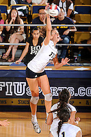 24 September 2010:  FIU's Una Trkulja (7) hits a kill shot in the third set as the FIU Golden Panthers defeated the University of Denver Pioneers, 3-0 (29-27, 25-16, 25-20), at U.S Century Bank Arena in Miami, Florida.
