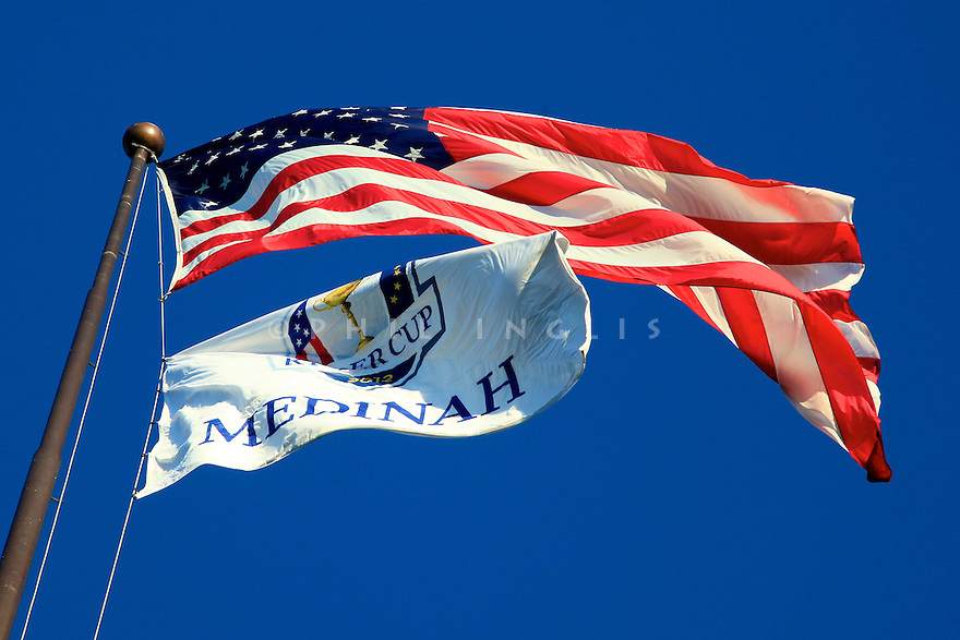 Flags fly   during practice thursday of the 39th Ryder Cup matches, Medinah Country Club, Chicago, Illinois, USA.  28-30 September 2012 (Picture Credit / Phil Inglis)
