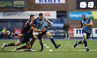 Aled Summerhill of Cardiff Blues pressured by Dougie Fife of Edinburgh while Matthew Morgan of Cardiff Blues calls for the pass during the Guinness PRO14 match between Cardiff Blues and Edinburgh Rugby at BT Sport Cardiff Arms Park, Cardiff, Wales on 1 September 2017. Photo by Mark  Hawkins.