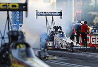 Mar. 30, 2012; Las Vegas, NV, USA: NHRA top fuel dragster driver Shawn Langdon during qualifying for the Summitracing.com Nationals at The Strip in Las Vegas. Mandatory Credit: Mark J. Rebilas-US PRESSWIRE