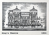 The Kings Theatre, Glasgow, a copy of one of the images gifted by actor Tony Roper to the Britannia Panoptican in Glasgow, after he presented the long-lost variety music hall with some ink drawings of old Glasgow theatres. The framed collection was given to Roper by the family of Ricki Fulton - picture by Donald MacLeod 05.03.09