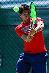 SURPRISE, AZ - MAY 12: Jorge Vargas of the Columbus State Cougars Cougars returns a ball against Blake Bayldon of the Barry Buccaneers during the Division II Men's Tennis Championship held at the Surprise Tennis & Racquet Club on May 12, 2018 in Surprise, Arizona. (Photo by Jack Dempsey/NCAA Photos via Getty Images)
