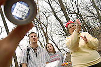 Evelyn Howell, professor of ecology and landscape architecture, explains to undergraduate students Josh Peterson and Rebecca Hanson how to use a densiometer (at left) to measure tree canopy cover during a Site Inventory and Analysis class exercise measuring vegetation groundcover and tree canopy in Muir woods. Howell is a 2004 Distinguished Teaching award recipient.<br /> <br /> Client: University of Wisconsin-Madison<br /> &copy; UW-Madison University Communications 608-262-0067<br /> Photo by: Michael Forster Rothbart<br /> Date: 4/04    File#:   D100 digital camera frame 2857.