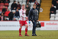 Mark McKee of Stevenage leaves the field with an injury during Stevenage vs Crewe Alexandra, Sky Bet EFL League 2 Football at the Lamex Stadium on 10th March 2018