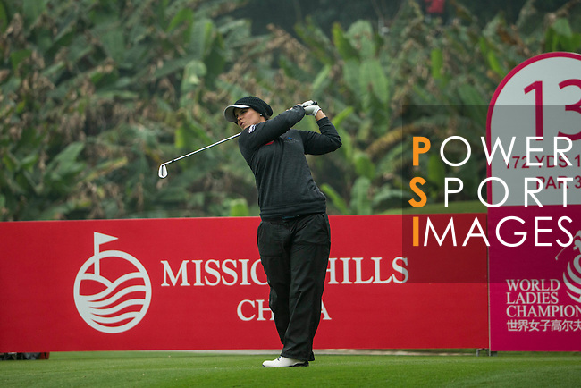 Valentine Derrey of France tees off at 13th hole during Round 3 of the World Ladies Championship 2016 on 12 March 2016 at Mission Hills Olazabal Golf Course in Dongguan, China. Photo by Lucas Schifres / Power Sport Images