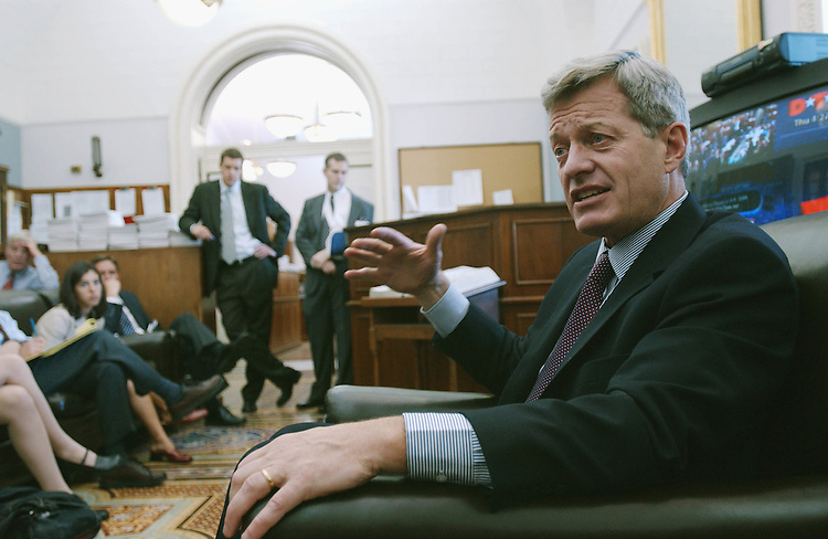 8/1/02.BAUCUS--Senate Finance Chairman Max Baucus, D-Mont., talks with reporters in the Senate Daily Press Gallery on a variety of issues, especially the fast-track trade bill, which passed in the Senate a short time later..CONGRESSIONAL QUARTERLY PHOTO BY SCOTT J. FERRELL