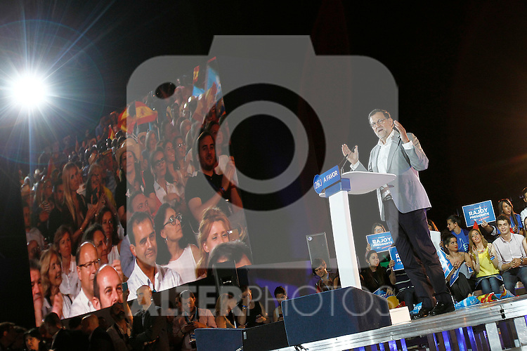 Mariano Rajoy, Spain's acting Prime Minister of the caretaker government and Popular Party leader and party candidate, speaks during the party final campaign meeting. June 24,2016. (ALTERPHOTOS/Acero)