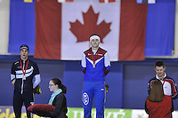 SPEEDSKATING: CALGARY: 15-11-2015, Olympic Oval, ISU World Cup, Podium 1500m Men, Bart Swings (BEL), Denis Yuskov (RUS), Joey Mantia (USA), ©foto Martin de Jong
