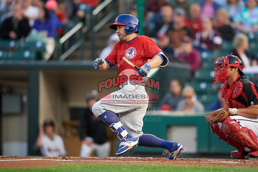 Buffalo Bisons left fielder Jon Berti (8) breaks his bat during a game against the Rochester Red Wings on August 25, 2017 at Frontier Field in Rochester, New York.  Buffalo defeated Rochester 2-1 in eleven innings.  (Mike Janes/Four Seam Images)