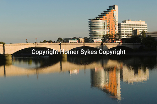 Putney bridge and Putney Wharf Tower on the river Thames. UK 2007.