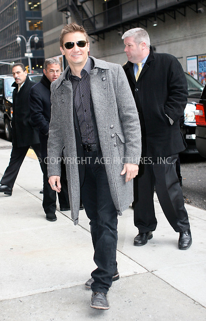 WWW.ACEPIXS.COM . . . . .   ....February 3 2010, New York City....Actor Jeremy Renner made an appearance at 'The Late Show with David Letterman' on February 3 2010 in New York City....Please byline: NANCY RIVERA- ACEPIXS.COM.... *** ***..Ace Pictures, Inc:  ..Tel: 646 769 0430..e-mail: info@acepixs.com..web: http://www.acepixs.com