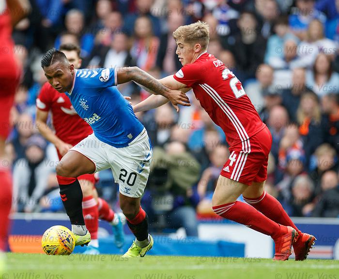 28.09.2018 Rangers v Aberdeen: Alfredo Morelos and Dean Campbell
