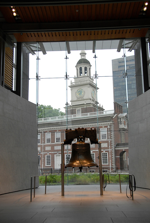 Liberty Bell and Independence Hall..Philadelphia, Pennsylvania, PA USA.  Photo copyright Lee Foster, 510-549-2202, lee@fostertravel.com, www.fostertravel.com.  Photo 256-30752