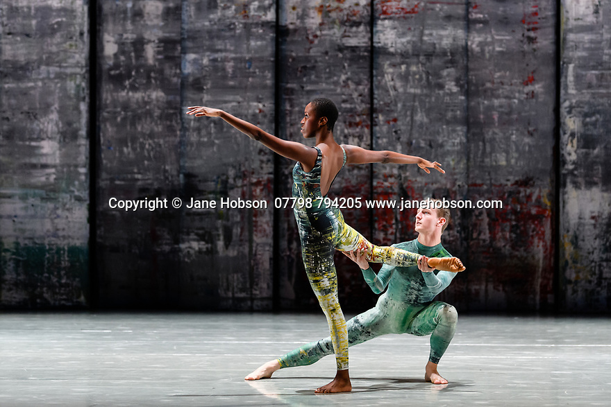 London, UK. 07.11.2019. Rambert presents RAMBERT EVENT, by Merce Cunningham, at Sadler's Wells. Choreography by Merce Cunningham, staging by Jeannie Steele, Music by Philip Selway, Quinta and Adem Ilhan, designs inspired by Gerhard Richter's 'Cage' series, performed by Rambert. The dancers are: Kym Sojourna, Alex Souillere. Photograph © Jane Hobson.